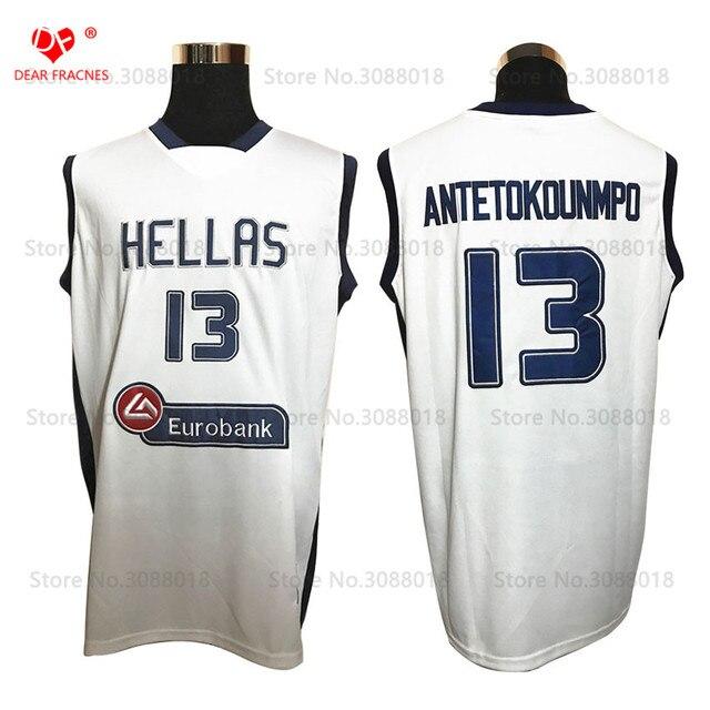 Top Hellas Greece Team #13 Giannis Antetokounmpo Jersey Throwback Basketball Jersey Vintage Retro Basket Shirt For Men Stitched