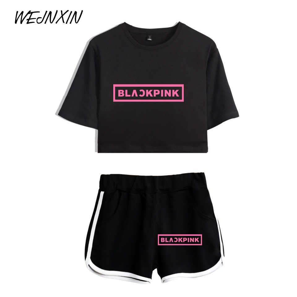WEJNXIN Summer Kpop Blackpink Crop Top And Pants Set Black Pink Tracksuit Women Fan Support Two Piece Set Outfits Conjunto