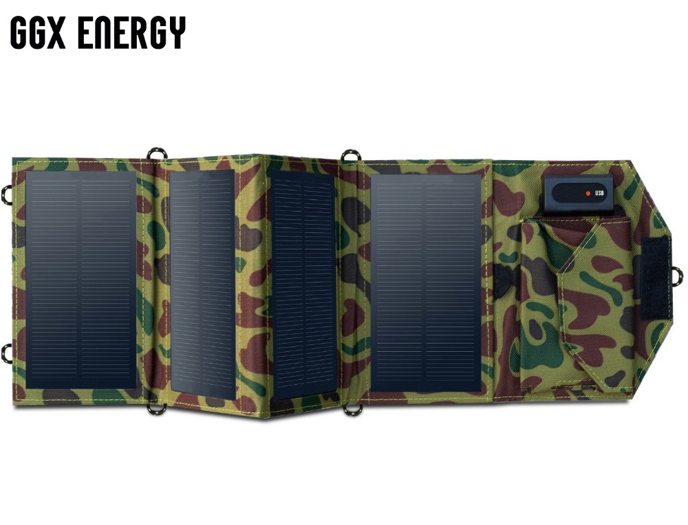 GGX ENERGY 8W Folding Solar Charger for Mobile Phone iPhone Samsung LG Smart Phones Portable Solar Panels for Camping