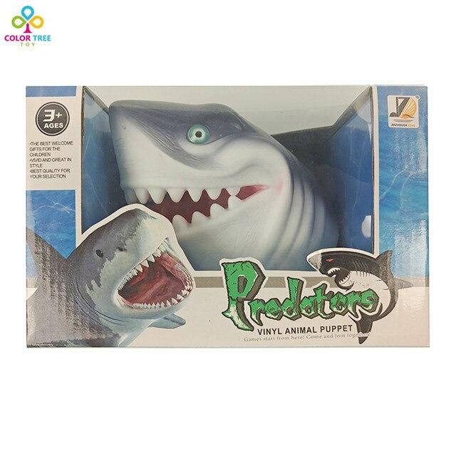 Море Акула Руку Кукольный 3D Мягкие Перчатки Виниловые ПВХ Голова Животного Рисунок Дети Игрушка в Подарок Модель