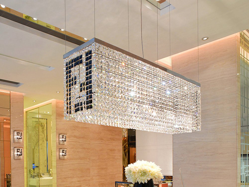 Modern Contemporary Luxury Linear Rectangular Double F Island Dining Room Crystal Chandelier Lighting Fixture
