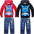 Cartoon Pokemon Go Hoodies Set Child Fashion Autumn Boys Clothing Set Sports Kids Sweatshirt Pants Warm Winter Cartoon Hoody Set