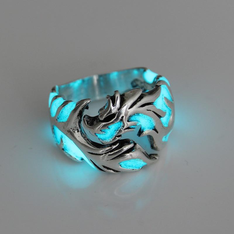 Luminous Dragon Rings for Men Women Vintage Punk Rings Glow In The Dark Enamel Male Band Ring Jewelry Adjustable Mens Ring