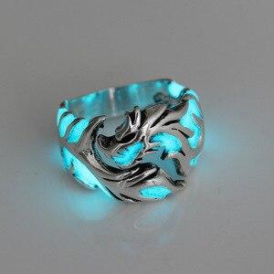Светящиеся кольца в виде дракона для мужчин и женщин, мужское кольцо с эмалью, регулируемое мужское кольцо