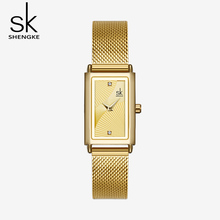 Shengke Women Watches Fashion Geneva Designer Ladies Watch Luxury Brand Rectangle Quartz Gold Wrist Gifts For