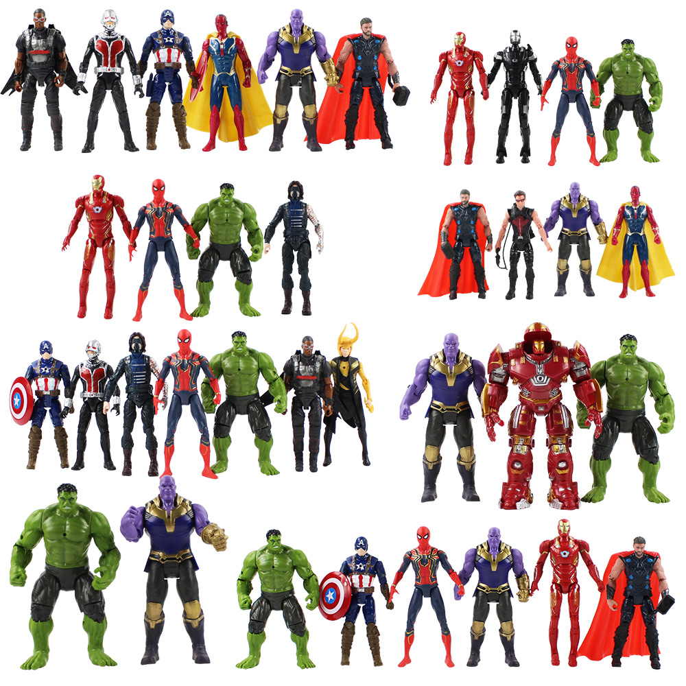 17cm Iron Man Ironman Captain America Thor Black Widow Hawkeye Goliath Ronin Loki PVC Action Figure Model Toy can light on toy marvel avengers iron man black panther hawkeye captain america black widow pvc action figure collectible model toys 17cm kt3351
