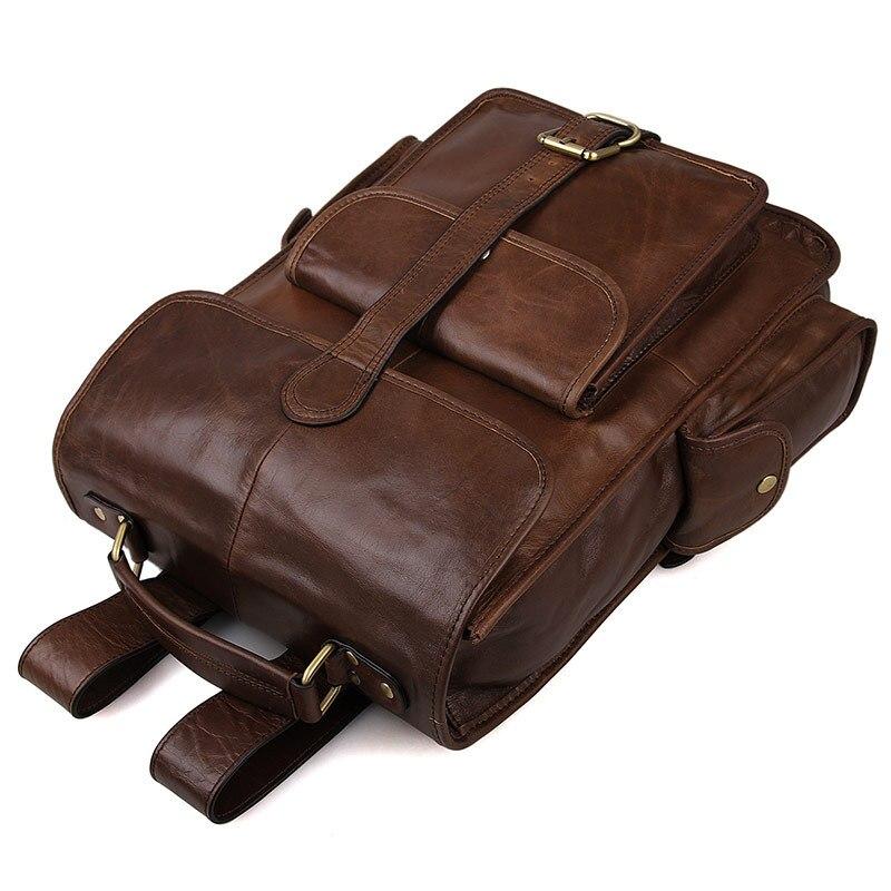 Rucksäcke Rucksack Männer Reise 15 Brown Wochenende Schule Business Echt Casual Tasche Leder Taschen Vintage Echtes