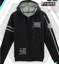 New sword art online cosplay costume gun gale online kirito jacket coat hoodie fleece thicken coat black hoodie