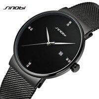 SINOBI Men Quartz Watch Luxury Top Brand Fashion Mesh Delicate Ultra Thin Business Watch Full Stainless
