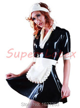 Latex Rubber Maid Dress Outfit Black & White All Size | Sexy Fetish