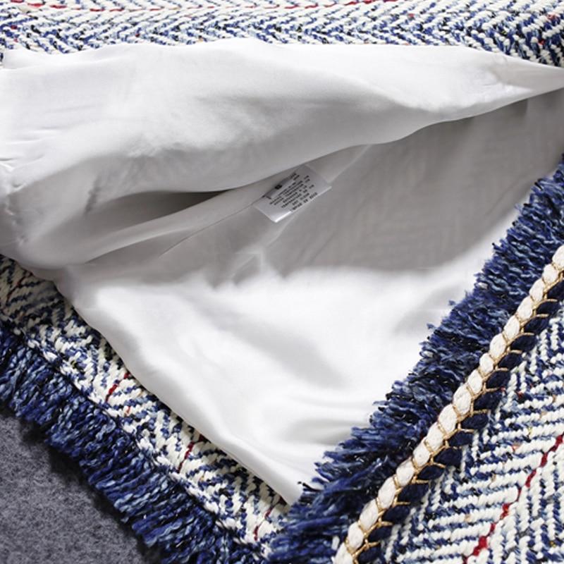 Синяя полосатая твидовая куртка 2019 Осень/Зима Женское пальто Collared Синяя Куртка женская куртка - 6