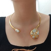 N081123 White Keshi Pearl 24 K Yellow Golden Plated Choker Necklace