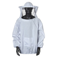 Durable Cotton White Protective Beekeeping Jacket Veil Dress With Hat Equip Suit Smock New Arrrival Free