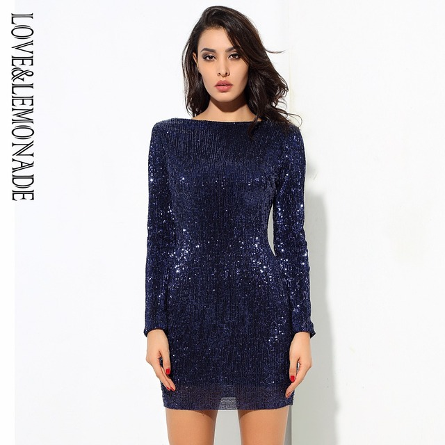 ... san francisco e45f7 84644 LoveLemonade Dark Blue Open Back Stretch  Beads Shrug Dress LM0572 ... 6d8ee3fb9c04
