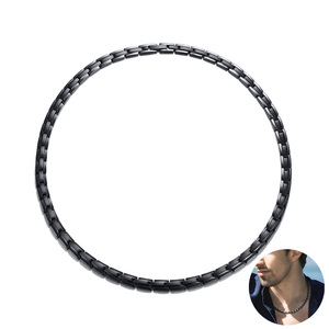 Image 2 - Men Healing Choker Health Energy Power Necklace in Black Stainless Steel Chain Famous Trendy Male Jewelry with 20 Inch