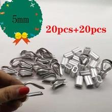 20 шт диаметр 5 мм рукава алюминиевый овальный двойной отверстие и Резьбовая веревка для обжима провода веревки
