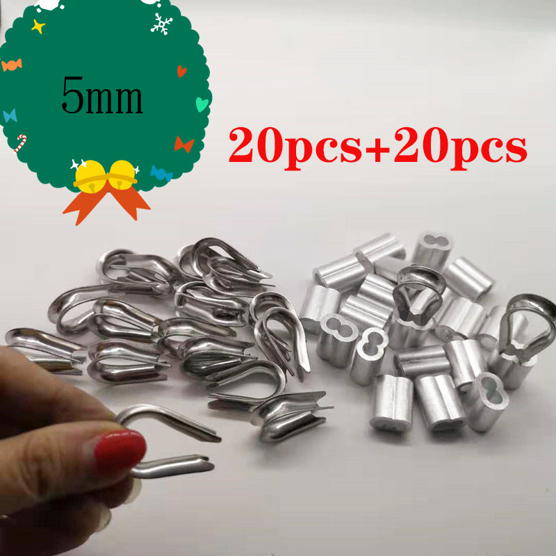 20pcs Diameter 5mm Sleeves Aluminium Oval Double Hole And Thimble Rope For Crimping Wire Rope