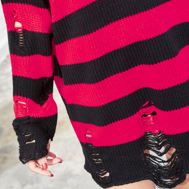 Black Red Striped Hole Knit Sweaters Autumn Winter Sweater Fashion Loose Long Paragraph Oversized Men Women All-match Clothing 2