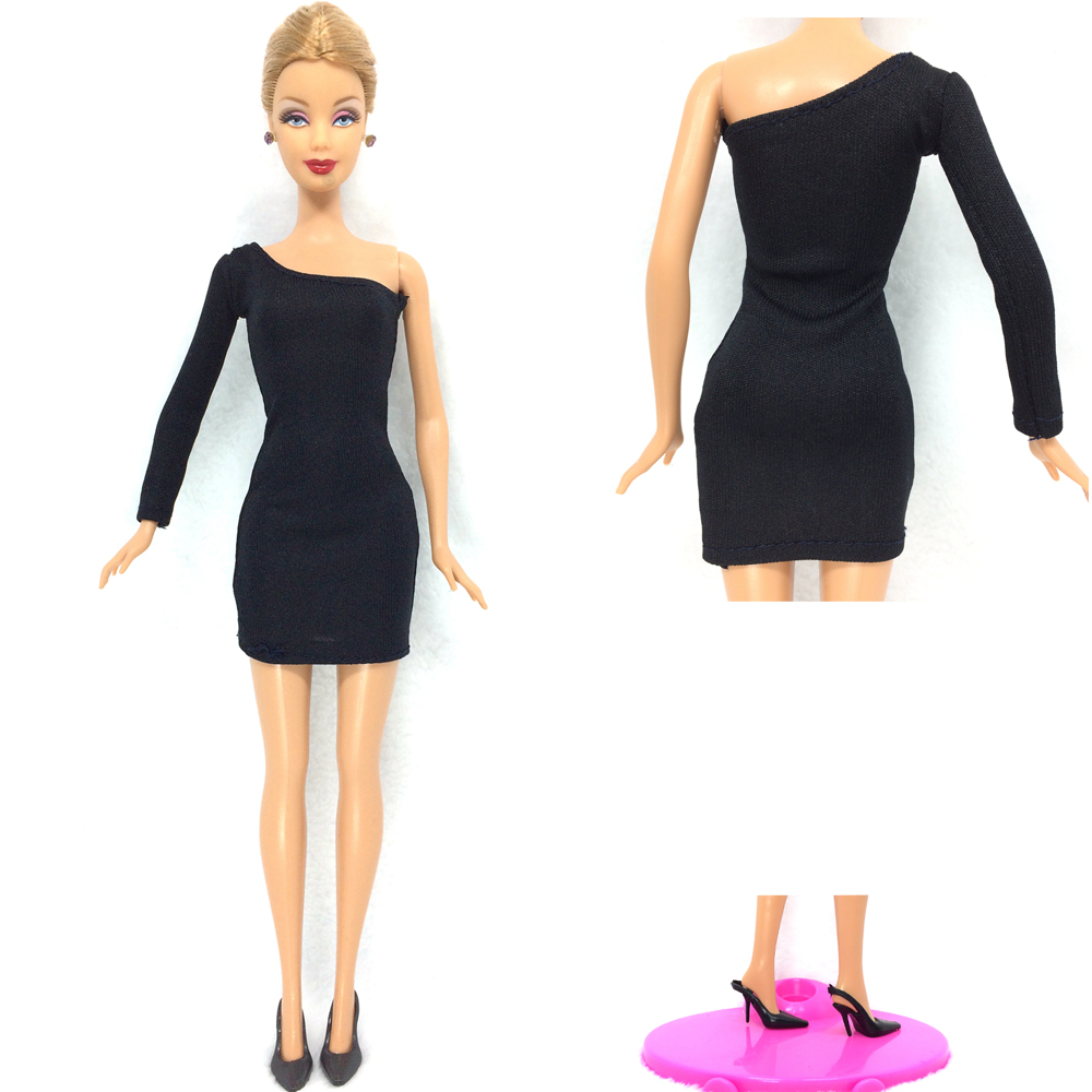 NK One Set 2016 Princess Doll Handmade Colthes Fashion Dress Lady Black Cool Outfit +One Pair  Black Heels For Barbie Doll 003A