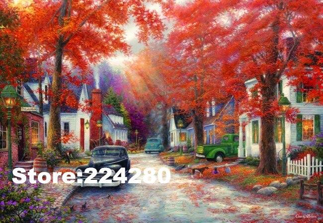 Rouge bois Feuille D'érable Paysage Couture, point de Croix À La Main 14CT blanc Toile DIY, DMC, au point de Croix kits, Broderie Art Maison