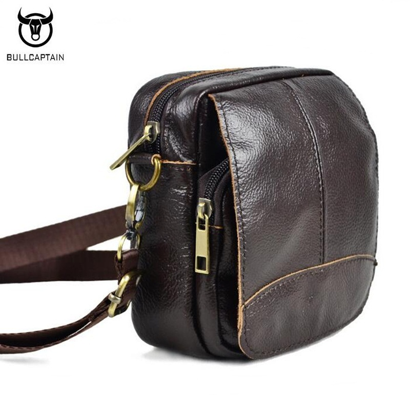 BULLCAPTAIN Genuine Leather Small Men Bag Brand Design Men Mini Crossbody Shoulder Bags Casual Fashion Messenger Bag Brown