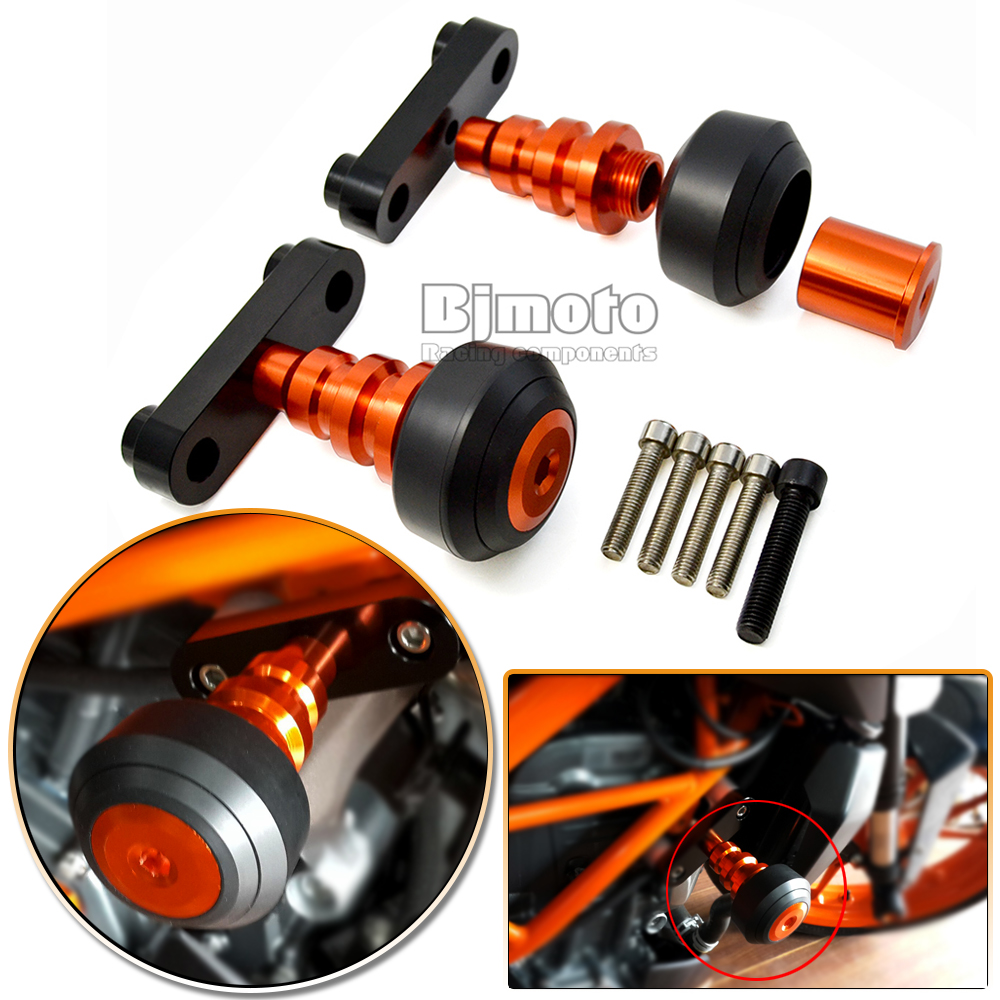 FS-KT003-OR New Motorcycle Aluminum Orange Motorbike Left and Right Frame Slider Anti Crash Protector For KTM DUKE 125/200/390