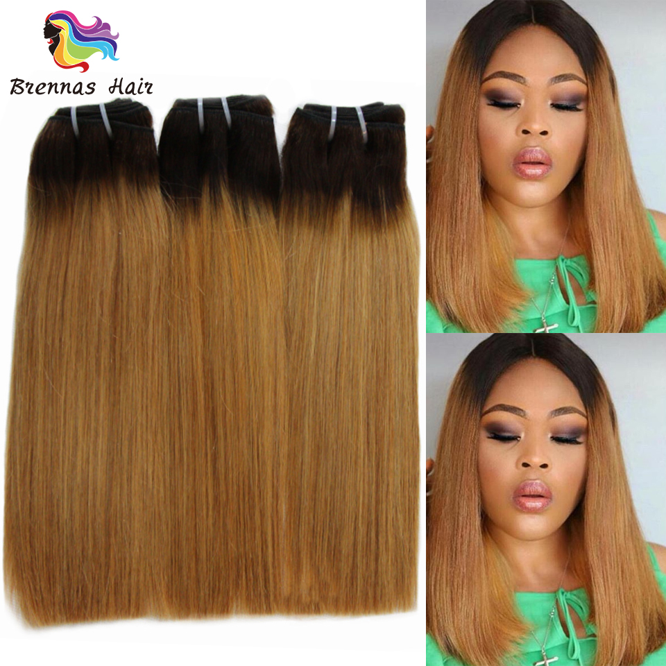 Ombre Double Drawn Human Hair Straight Hair Weave 2 Tone 1B27 Brazilian Funmi Straight Human Hair 3 Bundles Non-Remy Extensions