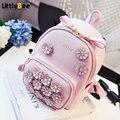 2016 nova flor verão mini saco mochila senhora diamante feminino Coreano faculdade vento mochila pequena
