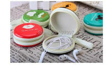 cute 200pcs Cartoon Cute Big Beard Face Designs Round Portable Storage Box For Earphone Wire/Electric Wire Free DHL