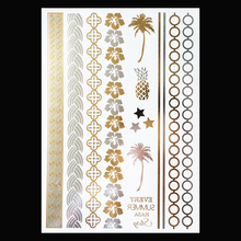 1PC Temporary Flash Metallic Tattoo Gold Silver Pineapple Coconut Tree YH-071 Wrist Bracelet Tattoo Sticker Style Designs
