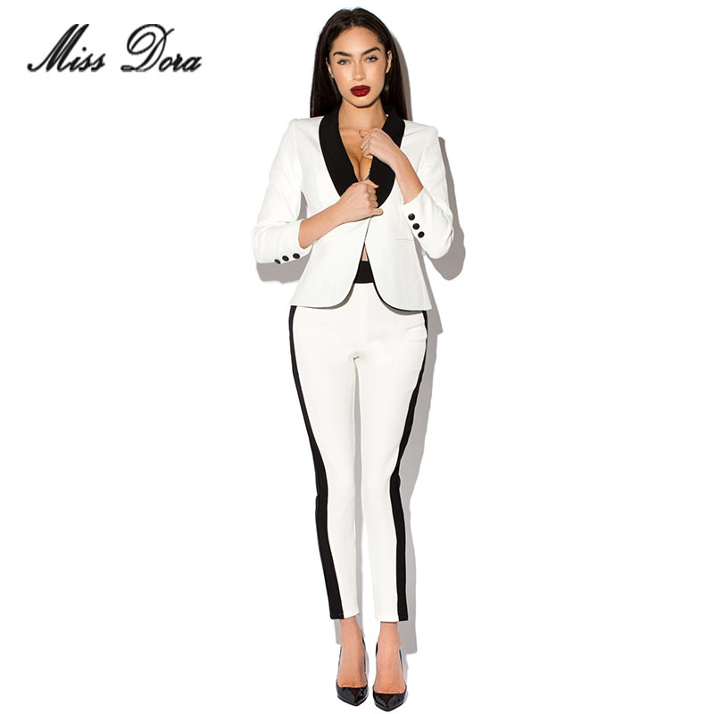 2017 new winter White Blazer Women Slim Blaser Double Breasted Design Blazer Feminino Female Suit Jacket & pants Women Work Wear