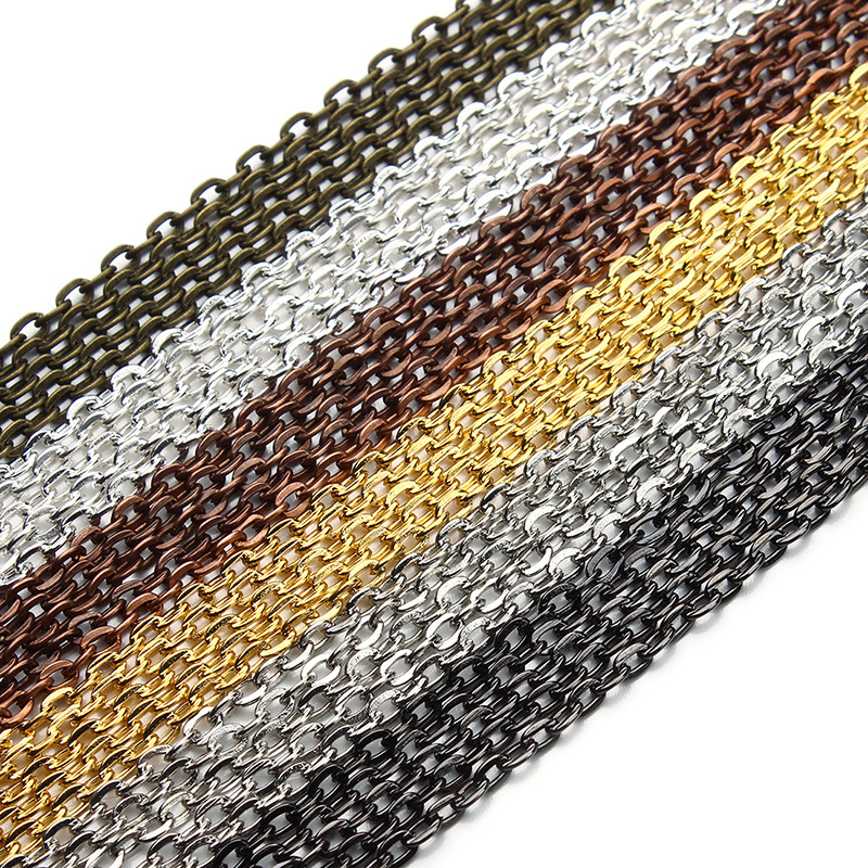 10 Meters Gold Silver Bronze Color Flat Link-opened Bulk Jewelry Chains 2x3/3x4/3.5x4.5/4x5.5mm Pick Size Iron Necklace Chains