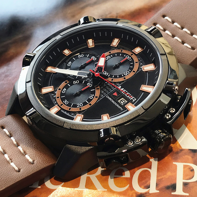 MEGIR Creative Sports Watches Men Fashion Top Brand Waterproof Leather Strap Quartz Wristwatches Clock Male Relogio Masculino