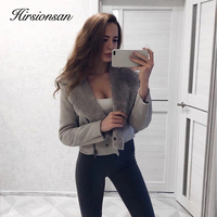 Hirsionsan Suede Leather Winter Jacket Women 2017 Warm Fur Inside Coats Thick Basic Bomber Leather Jackets