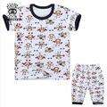 XIAOYOUYU Tamanho 100-140 Conjuntos de Pijama de Algodão Do Bebê Da Menina do Menino T + Calça Impresso Criança Sleepwear Verão Casual Criança roupas