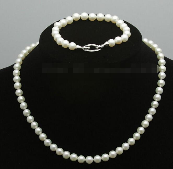 Vente chaude nouveau-shitou 00686 7-8mm Blanc rose Perle D'eau Douce Akoya Collier Bracelets peut choisir