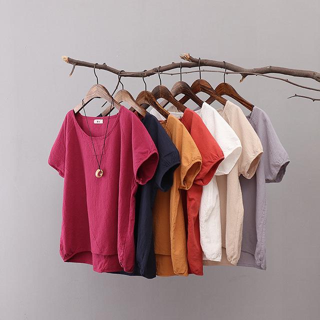 2016 Verão das Mulheres de Linho de Algodão Solto curto-de mangas compridas T-shirt cor Sólida Fêmea Costura Assentamento T Shirt Tops