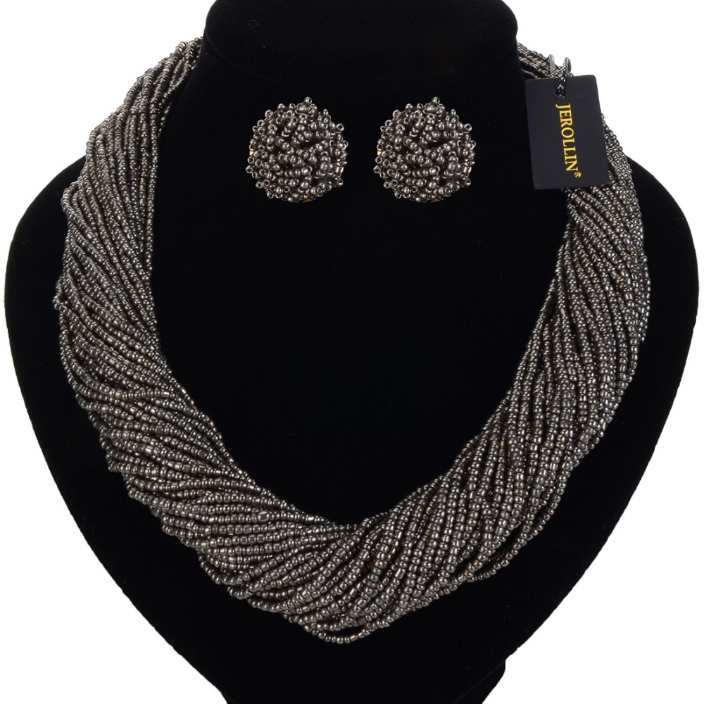 New 2019 Handmade Multi Strand Necklace Bohemian Beads Statement Necklaces Earrings Jewelry Set Bib Choker kolye collares in Jewelry Sets from Jewelry Accessories