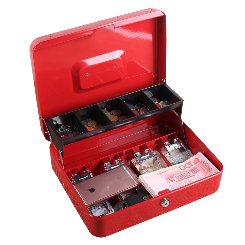 Portable Safes Storage Cash Box Money Drawer Key Lock / Password Lock Safe Lock Tiered Tray Security Metal Box 30 X 24 X 9cm