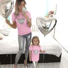 Одежда для мамы и детей милая футболка с рисунком сердца детская с коротким рукавом для мамы и дочки, одежда camiseta madre hijaZH* 2# p30US