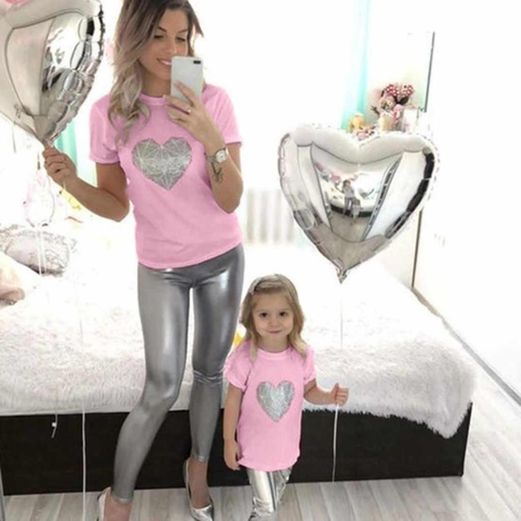 Одежда для мамы и детей футболка с милым рисунком сердца топ с короткими рукавами для мамы и дочки camiseta madre hijaZH * 2 # p30US