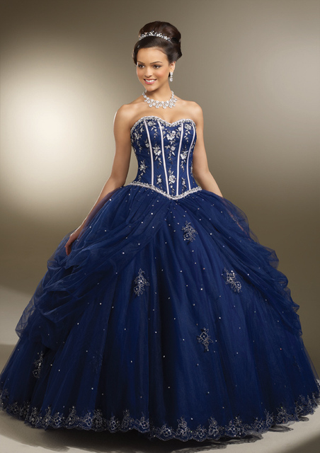 09032a7163b Beaidng Sweet 16 Dresses Royal Blue Quinceanera Dresses Ball Gowns For  Birthday Paty Vestido Para 15