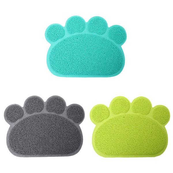 New Arrival 1pc 3 Colors Cute Paw Shape Pet Dog Cat Puppy Pvc Foot Mat For Dogs Cats Placemat  Pet Supplies Ic673895