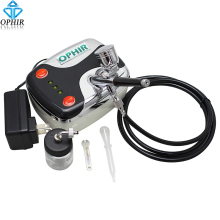 OPHIR Free shipping Portable Black Mini Airbrush Compressor with Dual Action Tanning Cosmetic Tattoo_AC002B+AC005+AC011