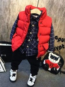 Вельветовая рубашка с длинными рукавами + плотный жилет + джинсы с плюшевой подкладкой осенне-зимняя детская одежда из 3 предметов для мальч...