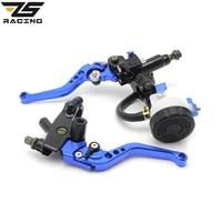 ZS Racing Universal CNC 7 8 22mm Blue Motorcycle Brake Clutch Levers Master Cylinder Reservoir Set