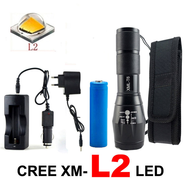 8000 Lumens CREE XML L2 LED Camping Flashlight Tactical Torch 5 Modes Lamp Led Light Lanterna +DC/Car Charger+1*18650+Holster