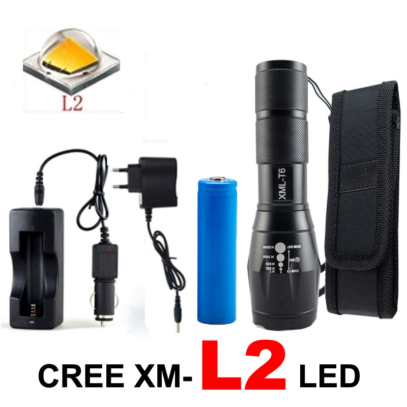 8000 Lumens CREE XML L2 LED Flashlight Tactical Torch Adjustable 5 Modes Led Light Lanterna +DC/Car Charger+1*18650+Holster 3t6 led flashlight cree xml 5mode lamp waterproof lanterna tactical denfense torch with rechargeable 3x18650 battery and charger