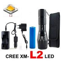 8000 Lumens CREE XML T6/L2 LED קמפינג פנס טקטי לפיד 5 מצבי מנורת אור Led Lanterna + DC/רכב + 1*18650 + נרתיק