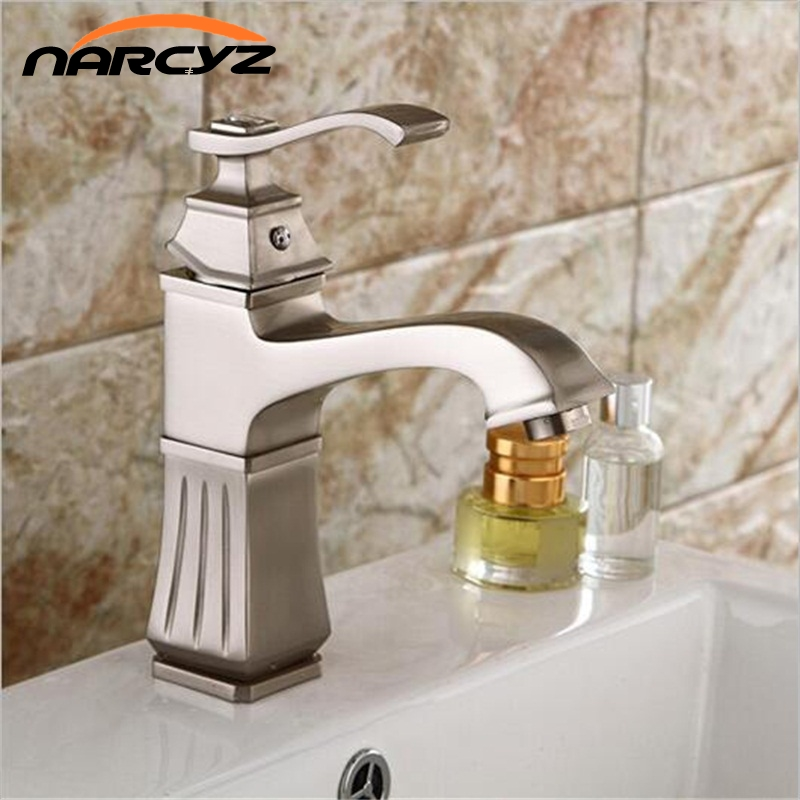 High quality Brushed basin faucet waterfall nickel faucet bathroom sink tap cold and hot mixer tap basin faucet XT-409 led color changing brushed nickle basin faucet hot and cold water faucet waterfall spout dual handle tap